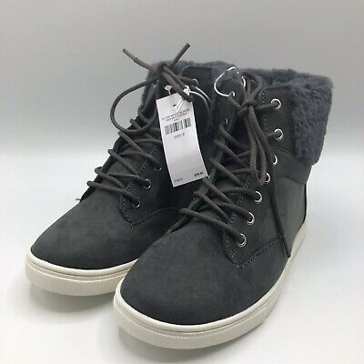 Justice Girls Size 6 Fur Back High Top Sneakers Charcoal Gray Brand New With Tag