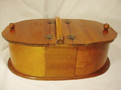Vtg Antique Wooden Sewing Box Double Hinged Handle Oval Bentwood Wood QuickShip