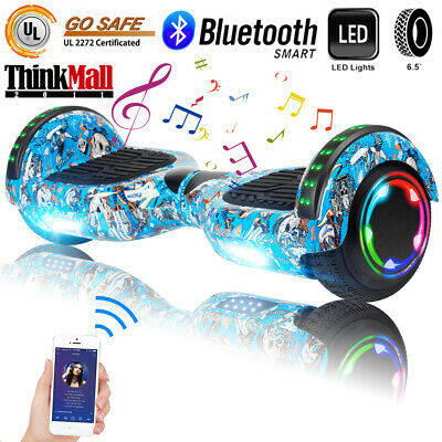 "6.5"" Bluetooth Hoverboard LED Electric Smart Self Balance Scooter Bag Blue Skull"