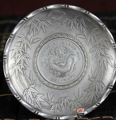 Chinese old antique collection Tibetan silver hand carved dragon dish