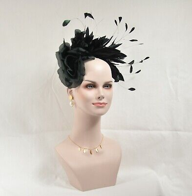 Silk Flower with Goose and Rooster Feather Flowers Fascinator Hat w Headband