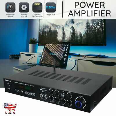 1120W 110V Bluetooth Hi-Fi Power Amplifier 5 CH Digital Stereo Karaoke FM AMP US