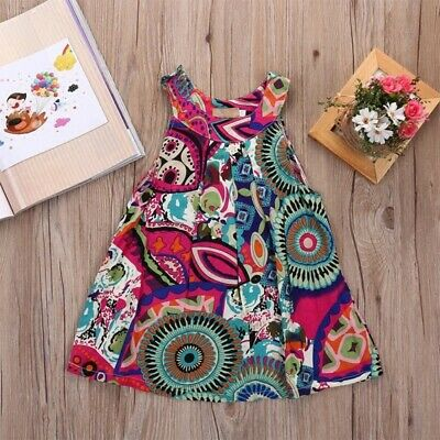 Toddler Baby Kids Girls Dress Printed Vest Skirt Outfit Set Clothes Hot