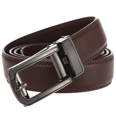 Men Genuine Leather Ratchet Belt Autonomic Buckle Business Waistband Black Brown