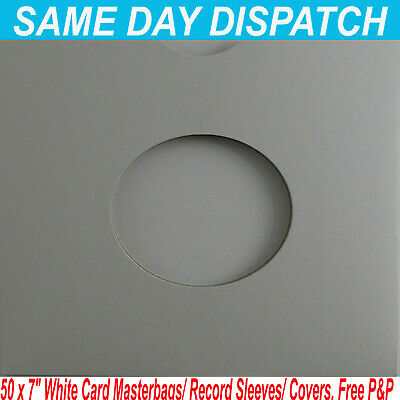 """25 x 7/"""" 45rpm WHITE CARD MASTERBAGS//COVERS//SLEEVES FREE P/&P^"""
