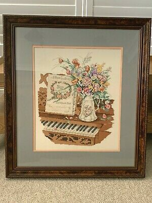 Framed Counted Cross Stitch. Vintage style Piano and flowers. Perfect condition