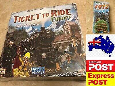 Ticket to Ride Europe board game, or Europa 1912 Expansion, AU stock