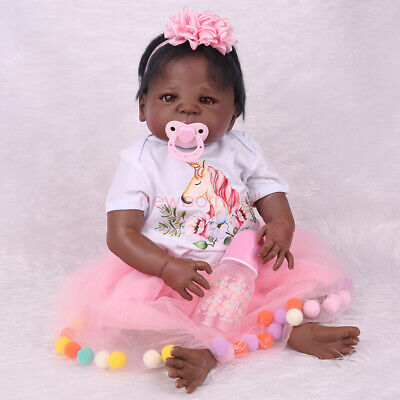 "22"" Full Body Silicone Vinyl Newborn African Black Girl Baby Realistic Toddlers"