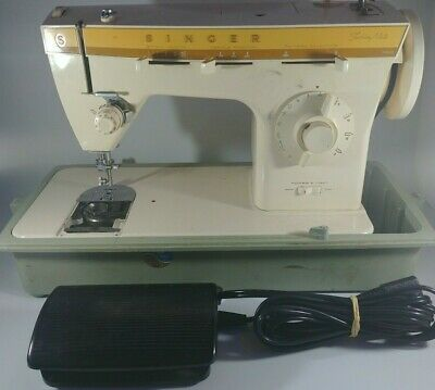 Vintage Singer Fashion Mate Sewing Machine Model 360 W/ Case and Pedal FREE SHIP