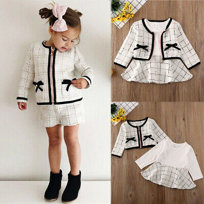 Toddler Baby Girls Winter Clothes Plaid Coat Tops+Tutu Dress Formal Outfits Set