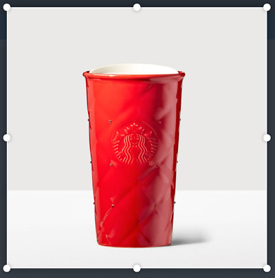 Starbucks Store Red Quilt Swarovski Double Wall Traveler  - 10 oz - New