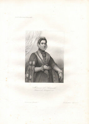 Jeanne d'Autriche  * RARE PRINT from ca. 1840 * French Duchess