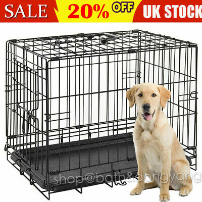 Dog Cage Puppy Training Crate Pet Carrier Folding Training Metal Travel Uk