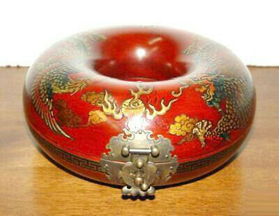 Chinese Classical Red Leather Wood Round Dragon Phoenix Jewellery Jewelry Box