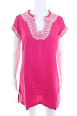 Boden Womens Embroidered Y Neck Sleeveless Mini Shift Dress Pink Size 6