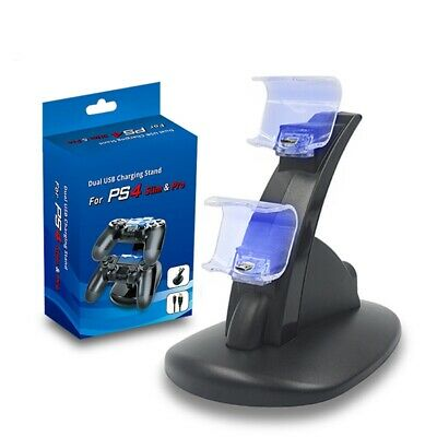 UK Dual USB Charger LED Charging Docking Station Stand for Sony PS4 Controller