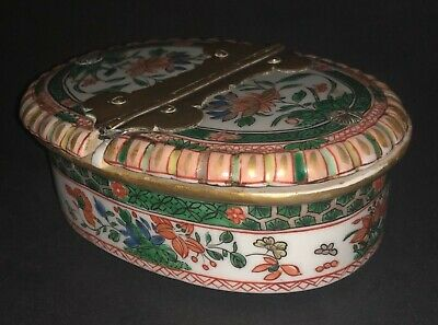 Rarest Antique Chinese Kangxi Famille Verte Hand Painted Porcelain Spice Box