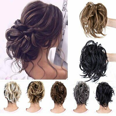 Large Thick Messy Bun Scrunchie Hair Piece Extensions Ponytail Blonde As Human