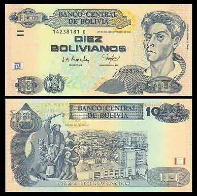 Bolivia P-228 10 Bolivianos L.1986 Series G Year 2005 Uncirculated Banknote
