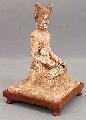Ancient Authentic Chinese Pottery Tomb Figure, Woman & Guzheng Instrument