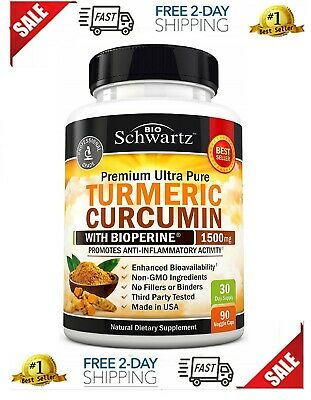 Turmeric Curcumin with Bioperine 1500mg. Highest Potency Available. Premium Pain