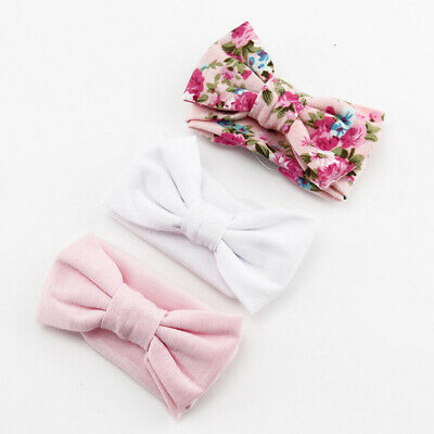 3pcs Set Baby Girl Headband Ribbon Elastic Headdress Kids Hair Band Newborn Bow.