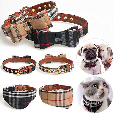 Adjustable Dog Cat Necklace Bow Tie Leather Collars Puppy Kitten Pet Accessories