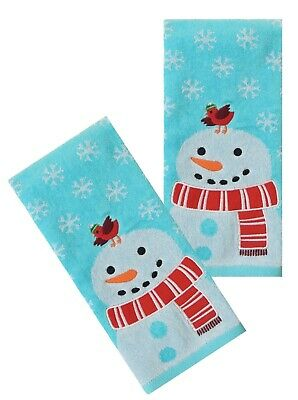 STELLER/'S JAY COLLAGE NEW SET OF 2 BATH HAND TOWELS EMBROIDERED BY LAURA