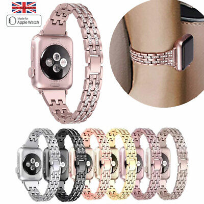 For Apple Watch Series 5 4 3 2 Bling Stainless Steel Bracelet iWatch Strap Band