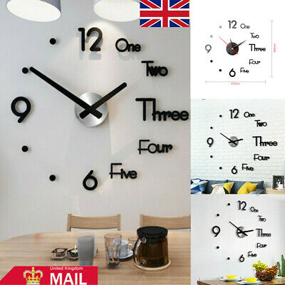 UK 3D Large Wall Clock Frameless Mirror Number Sticker Modern Art Decal Decor