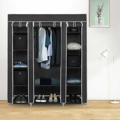 Large Canvas Fabric Wardrobe With Hanging Rail Shelving Clothes Storage Cupboard