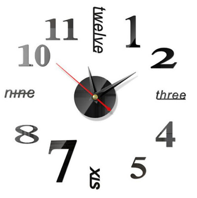 Luxury 3D DIY Wall Clock Large Number Mirror Sticker Self Adhesive Home Art Deco