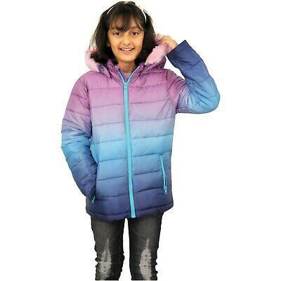 Kids Girls Jackets Baby Pink Faux Fur Hooded Puffer Two Tone Warm Coat 5-13 Yrs