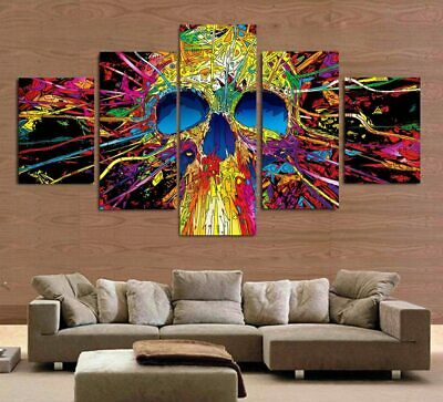 Abstract Colorful Skull Poster Canvas Art Wall Decor Home Decor Canvas Print