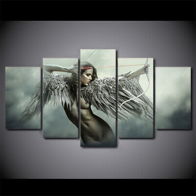 Sexy Fantasy Angel Fighting 5pc Poster Canvas Art Wall Home Decor Canvas Print