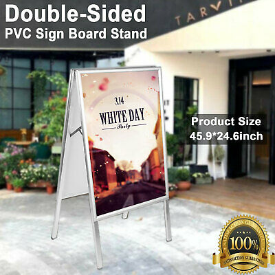 Portable Foldable A-Frame Double-Sided PVC Sign Board Poster Stand Sidewalk Hold