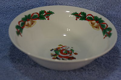 """Emerald Collection Santa (6) Cereal or Soup  Bowls 7 1/8"""" -Holly & Bells"""