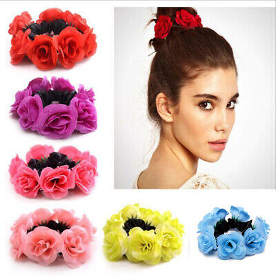 Women Girl Rose Flower Hair Scrunchie Band Rope Elastic Ponytail Holder