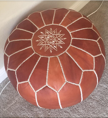 Handmade Genuine Leather Moroccan Pouf Footstool Ottoman Almond cognac Unstuffed