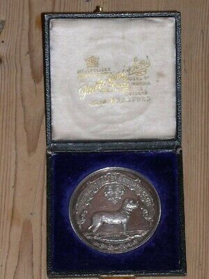 Antique Silver Saint St Bernard Dog Show Medal 1890 Named Dog Cased