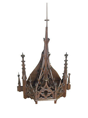 Gothic Church Steeple Wall Mount, Nice Architectural Element, Tall, Walnut, 19th