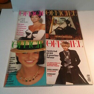 LOT OF 4  PARIS L'OFFICIEL MAGAZINES 1991 1983 Art Fashion Style FREE SHIP!