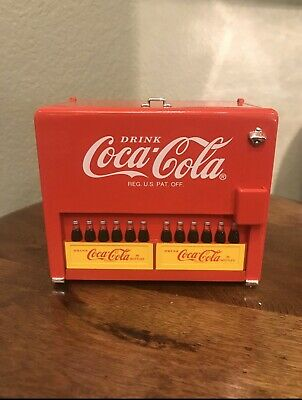 Coca Cola Slider Cooler Bank Mechanical Musical Perfect Condition