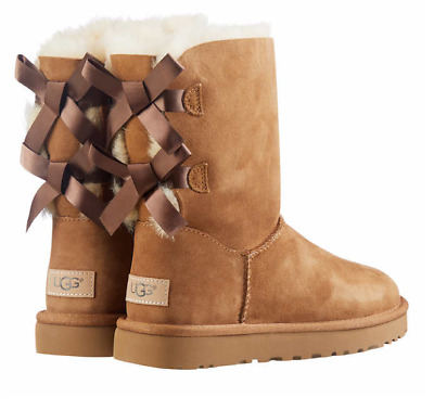UGG LADIE'S BAILEY BOW II BOOTS - BLACK or CHESTNUT
