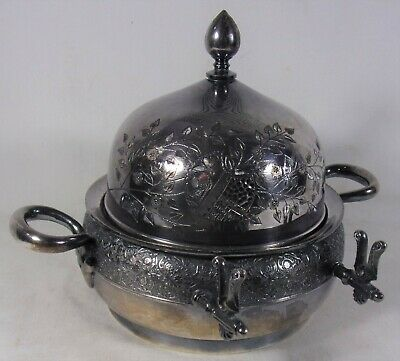 Antique Silverplate Butter Dish Dome Cover Etched Dragonfly Flower Meriden Rare