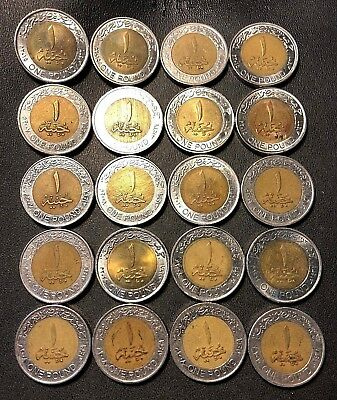 Old Egypt Coin Lot - 20 High Quality Pound Bi-Metal Coins - KING TUT - FREE SHIP
