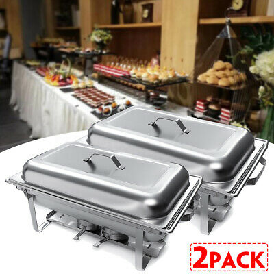 Pack of 2 9L 2 Plate Stainless Steel Chafing Dish Food Warmer Burner Tray Party