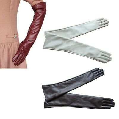Women Ladies Opera Evening Party Gloves Faux Leather PU Over Elbow Long Glove