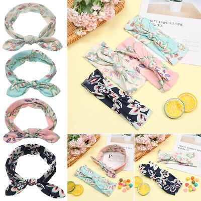 Elastic Rabbit Ears Baby Headband Print Ties Bow Infant Turban Flower Hairband