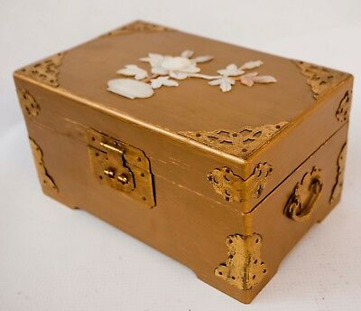 Vintage Mop Chinese Gold Painted Wood Musical Jewelry Box Made In Shanghai China